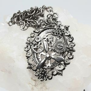 Steampunk Necklace Butterfly Silver Pendant